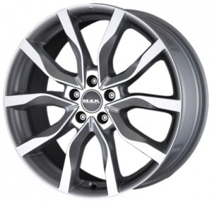 Mak Highlands 8.5x20/5x114.3 ET 35 Dia 76 Gun Metal Mirror Face - Pitstopshop